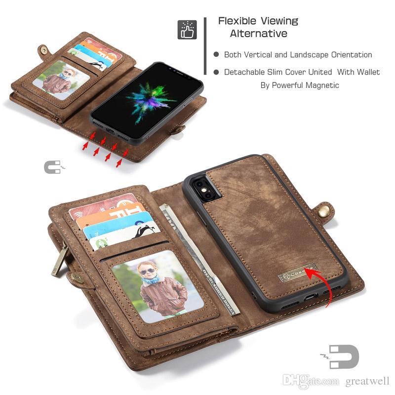CASEME Magnetic Skórzany Portfel Zipper Zdejmowany Osłona wymienna dla iPhone 13 12 11 Pro Max XS XR 8 7 6S PLUS