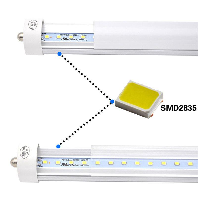Упаковка 25 СИД 8 Foot Tube Light Bulb, 6000K холодный белый, FA8 Single Pin, 85V-265V AC, 45W - 4800 люмен 90W Люминесцентная эквивалент