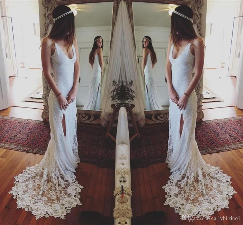 2017 New Simple Lace Wedding Dresses Cheap Sheath Deep V Neck Spaghetti Strap Side Split Gowns Low Back Sexy Beach Bridal Dress