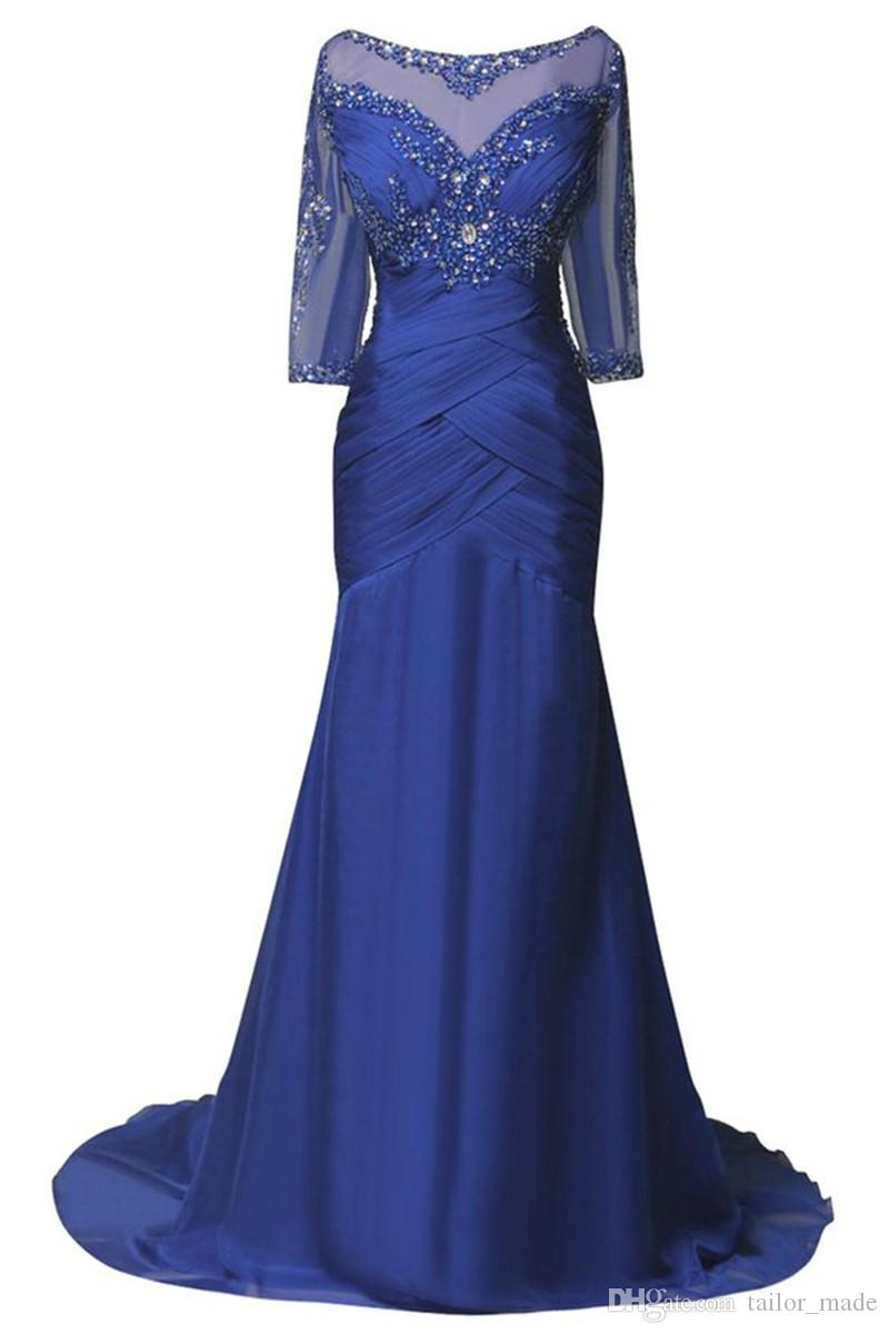 Eleganti abiti da sera lunghi 2019 con abiti da ballo formali in rilievo a mezza manica in rilievo Spedizione gratuita