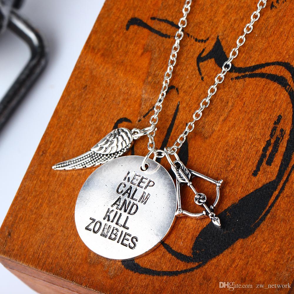 Collar de la película americana popular caliente Crossbow Wing Charm colgante collar Keep Calm popular colgante de aleación para parejas