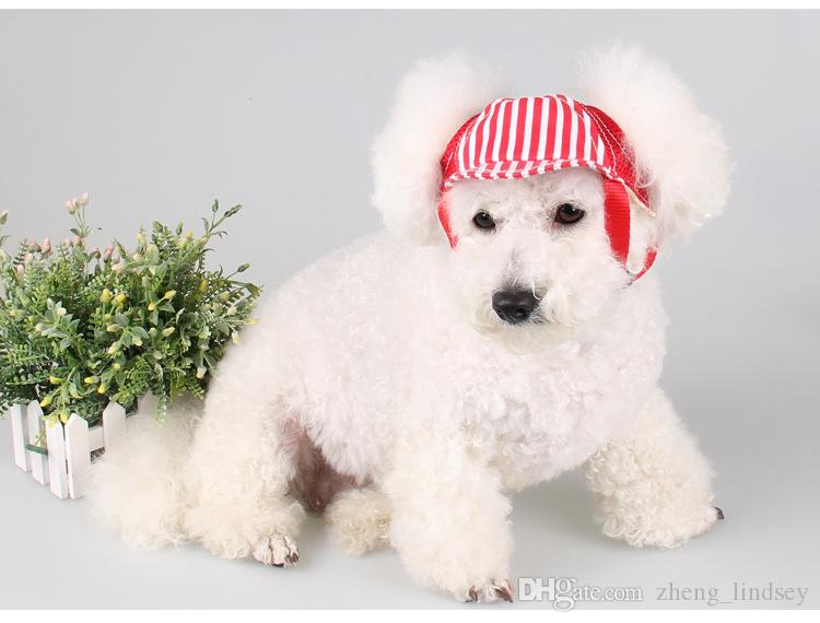 Small & Large Dog Baseball Caps Cat Rabbit Puppy Canvas Striped Sun Hat Fashion Hair Accessories For Pets