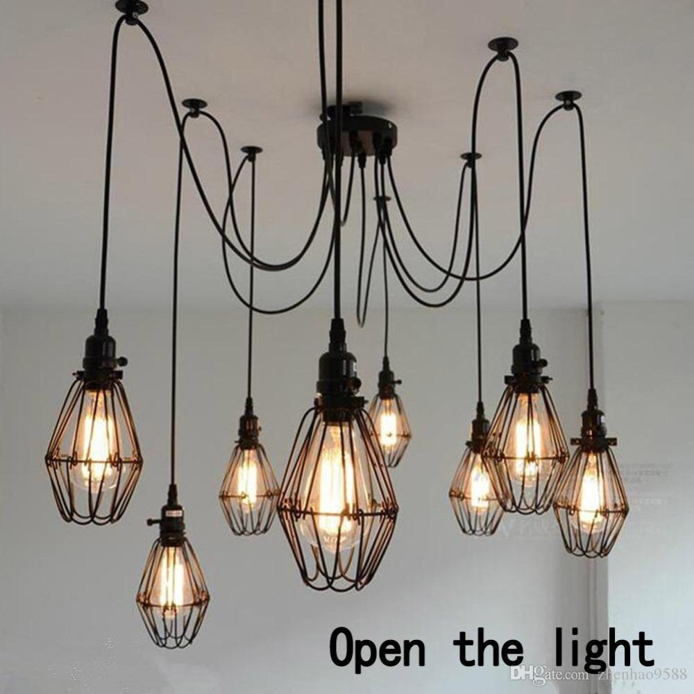 Eletrical Wire Pendant Lights With 5/6/8/10/12 Heads Small Birdcage E27  Vintage Style Pendant Lamps For Home/Room/Living Room Designer Pendant  Light Lamps ...