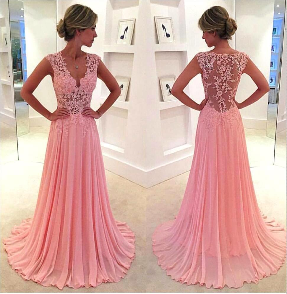 Cute Pink A-Line Prom Dresses 2016 New Arrival V-Neck Sleeveless Tank Sheer Back Applique Lace Up Party Evening Dress For Black Girl Gowns