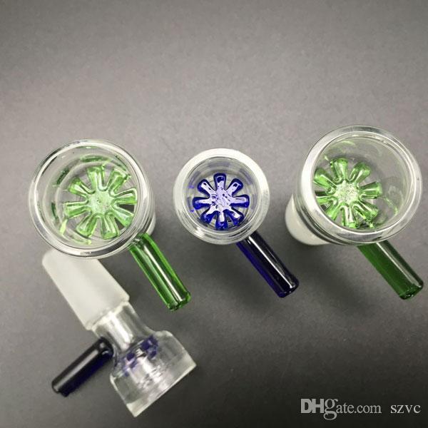 14mm 18mm toboggan verre bols pour bongs vert bleu mâle bong bol fit plates-formes pétrolières en verre bongs verre fumer bongs bol pour bong