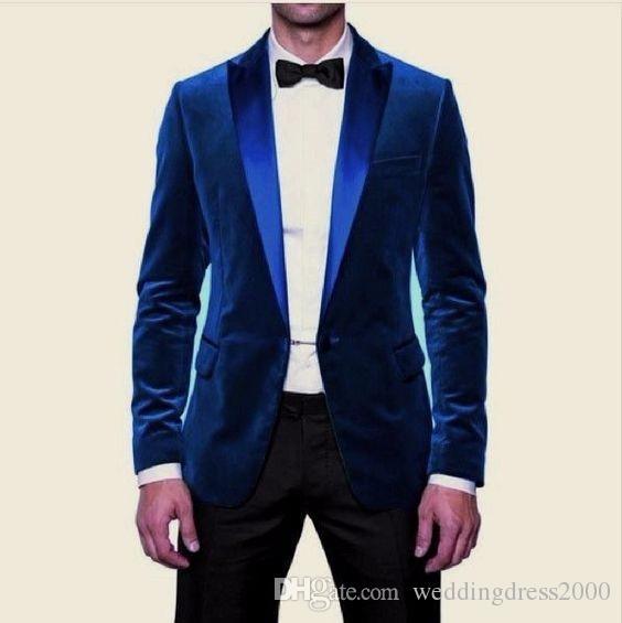 2018 Elegant Blue Velvet Prom Tuxedos Slim Fit Men Wedding Suit ...