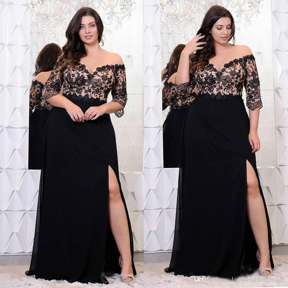 2018 Plus Size Women Black Lace Chiffon Dresses Half Sleeves Side ...