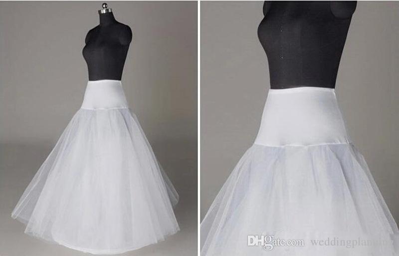 Em estoque REINO UNIDO EUA Índia Anáguas Crinolina Branco A Linha Nupcial Underskirt Deslizamento Não Hoops Comprimento Petticoat para a Noite / Prom / Vestido De Noiva