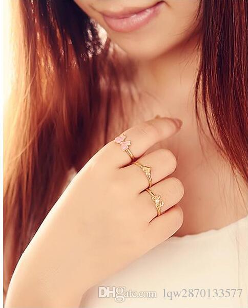 / accessoires set réglable rose blanc émail vernis étincelant découpe coeur papillon punk doigt midi strass mini anneau pour les femmes