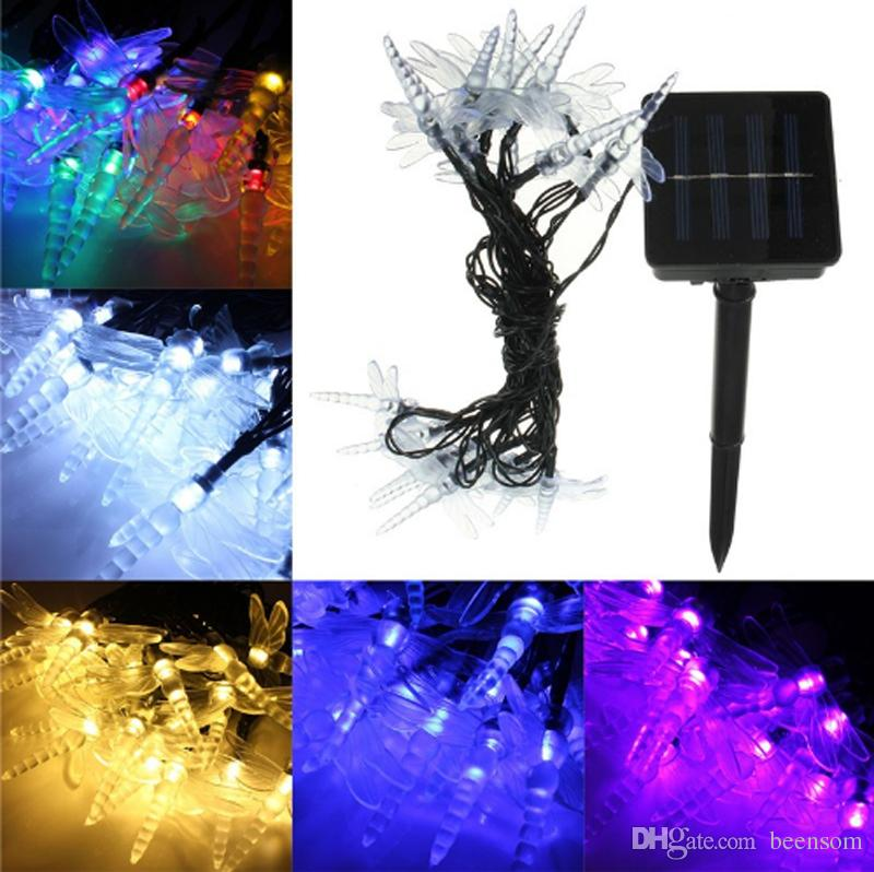 Solar Powered Dragonfly Led String Light 4.8M 20 LED Fairy Holiday Lights Outdoor Lanterns Xmas Garden Wedding Decorate Party Lamp