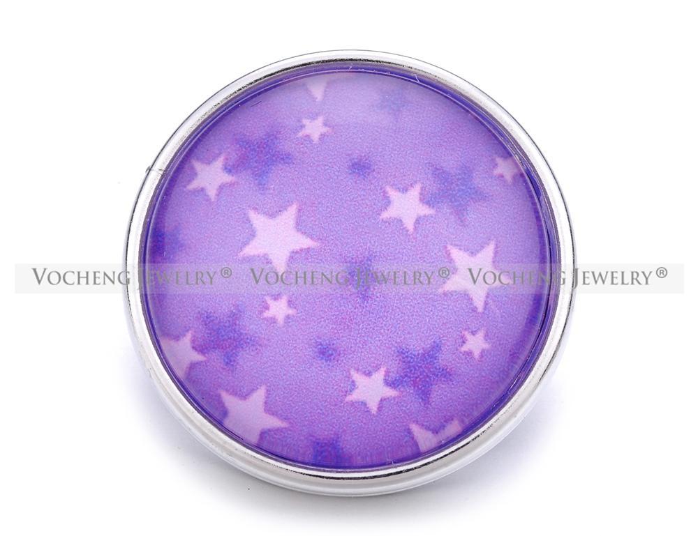 VOCHENG NOOSA Gros 18mm Bouton Verre Bouton Violet Étoile Charme Bijoux Vn-1168