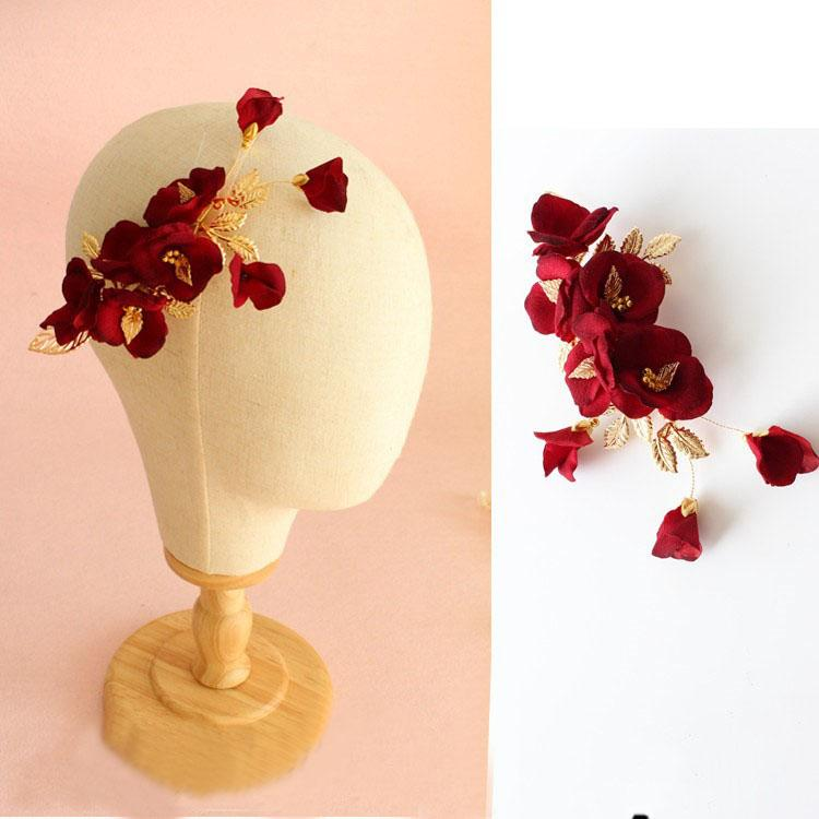 beijia New Handmade Red Flower Wedding Hair Comb Clip Vintage Bridal Accessories Headpiece