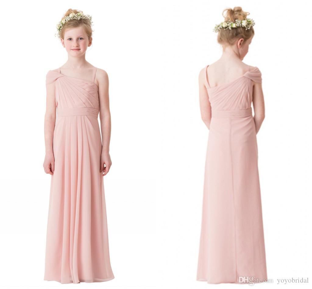 Compre Blush Pinn Único Escote De Gasa 2017 Vestidos De Dama Junior ...