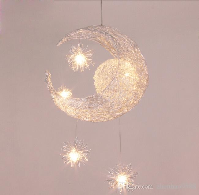 New Novelty Kid Children Room Light Lamp 5*G4 LED Modern Pendant Lighting For Bedroom Moon Star Lights