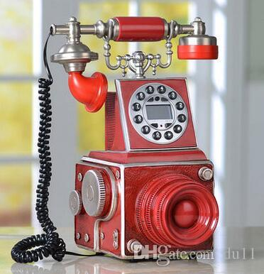Creative retro phone, home phone, blue screen, caller ID, European telephone, antique camera, telephone set