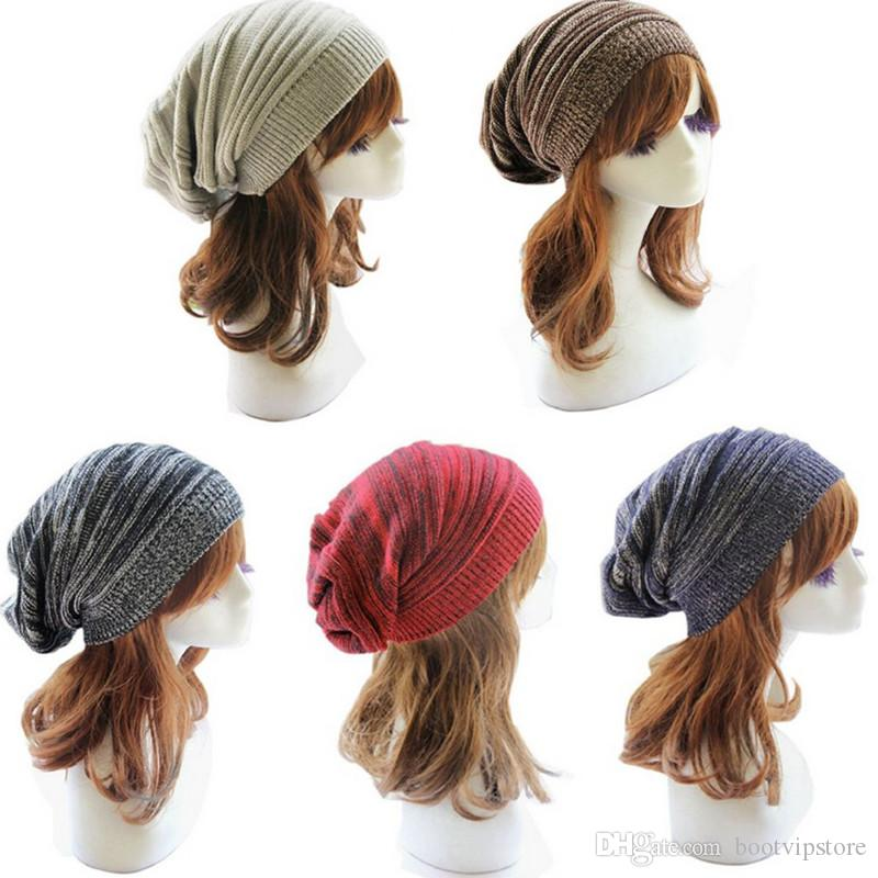 Wholesale Unisex Knit Baggy Beanie Beret Winter Warm Oversized Ski Cap Hat Acept Mix order More 40PCS send by DHL or EMS