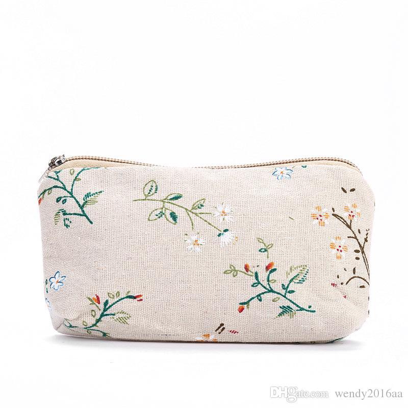 100 unids 2017 Nueva Cosmeitc Bolsa de algodón y lino patrón geométrico Maquillaje bolsas Lady Candy Color Top con cremallera Monedero