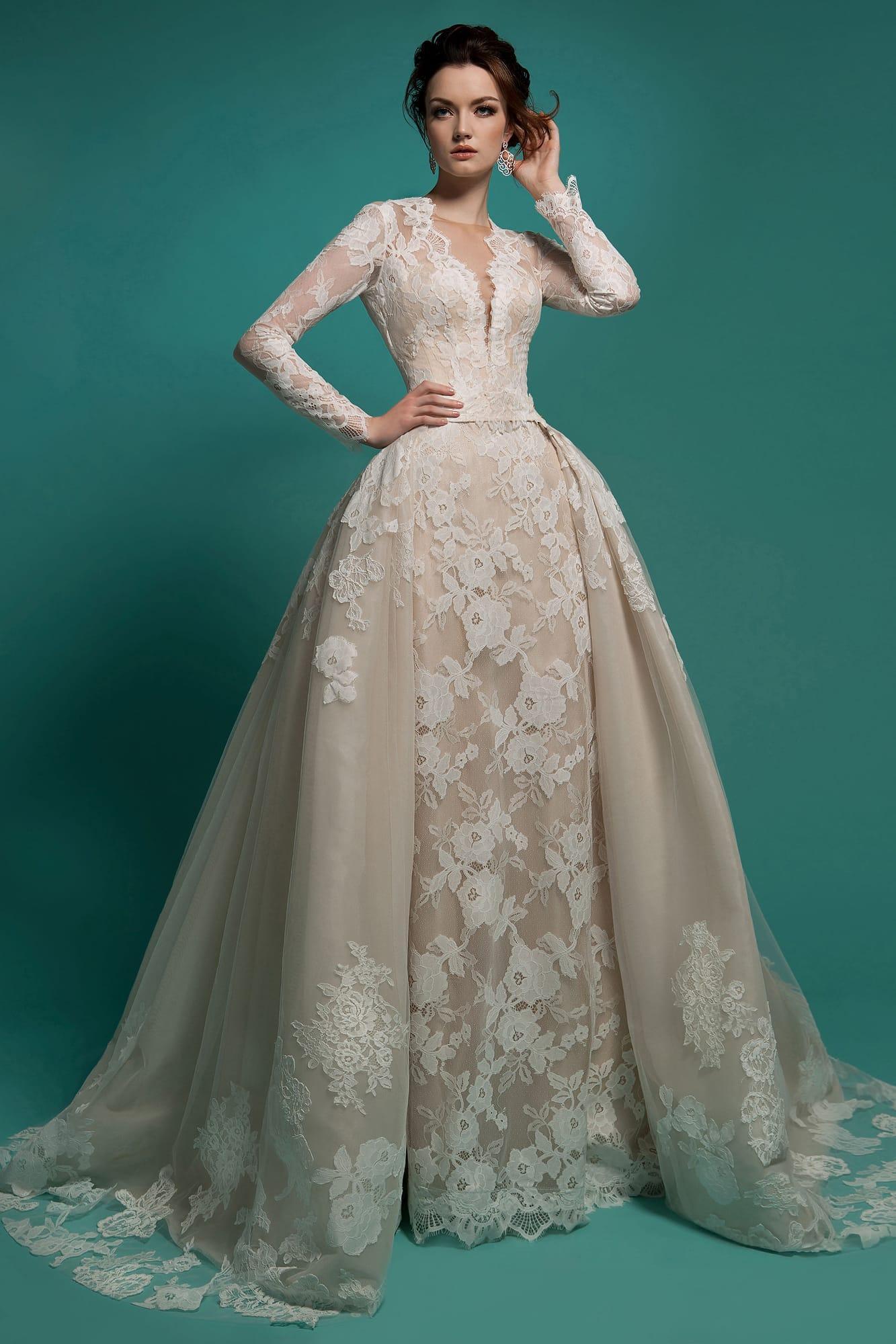 Milla Nova 탈착식 타린으로 2019 웨딩 드레스 아이보리 V 넥 레이스 아플리케 겸손한 긴 소매 브라 가운 중후 한 웨딩 드레스