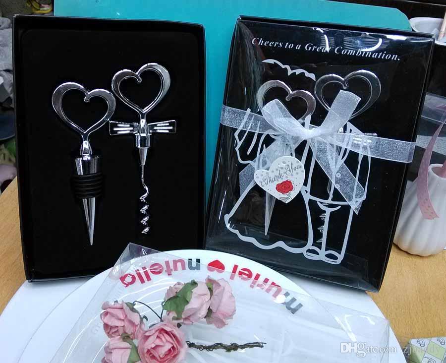 Combinación de corazón vino sacacorchos abrelatas de vino y Wine Bottle Stopper Sets recuerdos de boda invitados 60 unids 30 pares