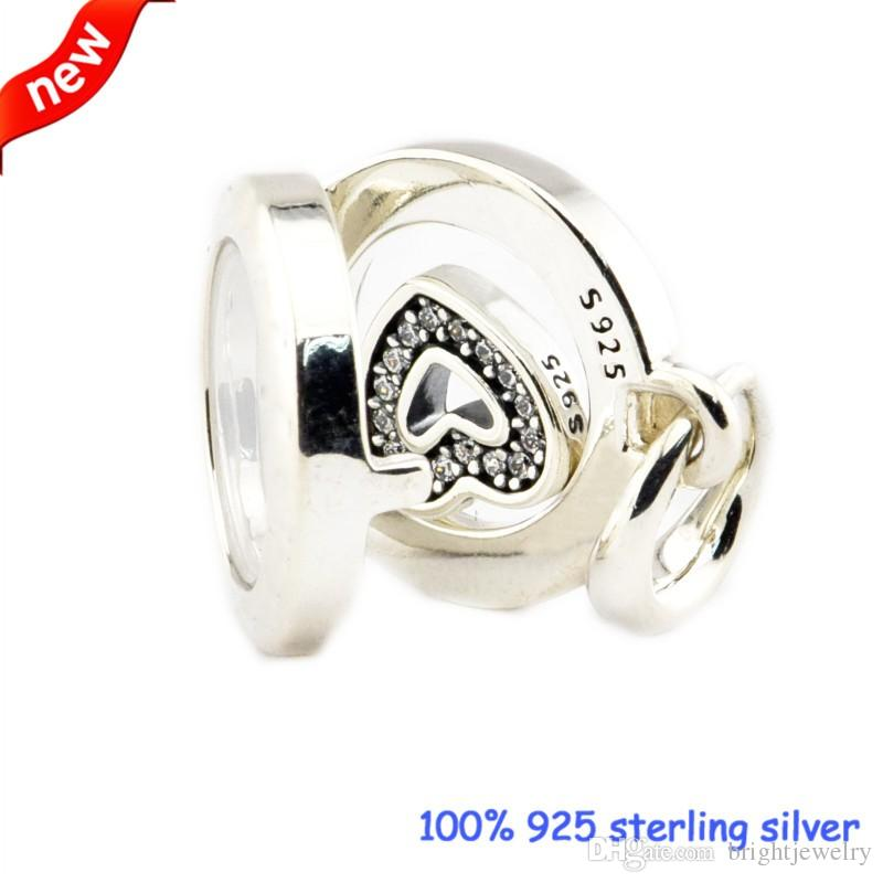 Adatto Pandora Bracciali galleggiante medaglione perline argento con Clear CZ 2016 nuovo originale 100% 925 gioielli in argento sterling gioielli fai da te
