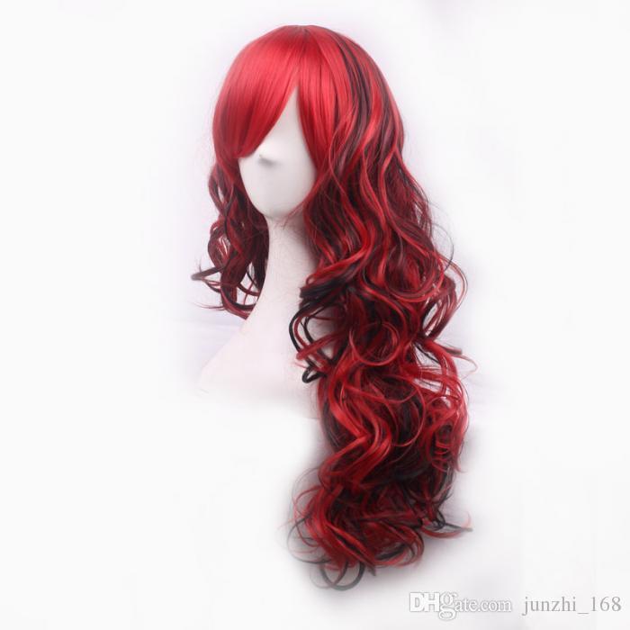 70 centimetri lunghi ricci ondulati cosplay parrucca anteriore in pizzo sintetico inclinato frisette donne parrucche parrucca di capelli ragazza regalo rosso scuro nero spedizione gratuita
