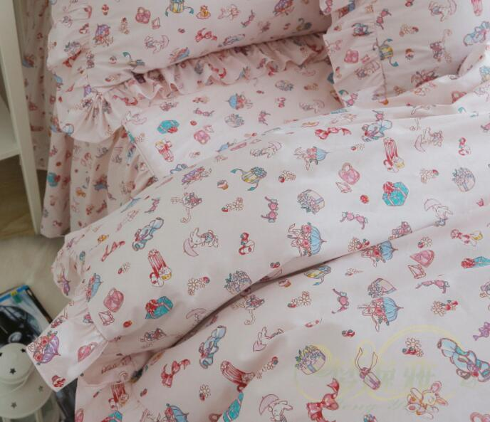 Cartoon pink color pure cotton ruffles Korean princess bedding sets 4pcs quilt cover pillowcase bed skirt style