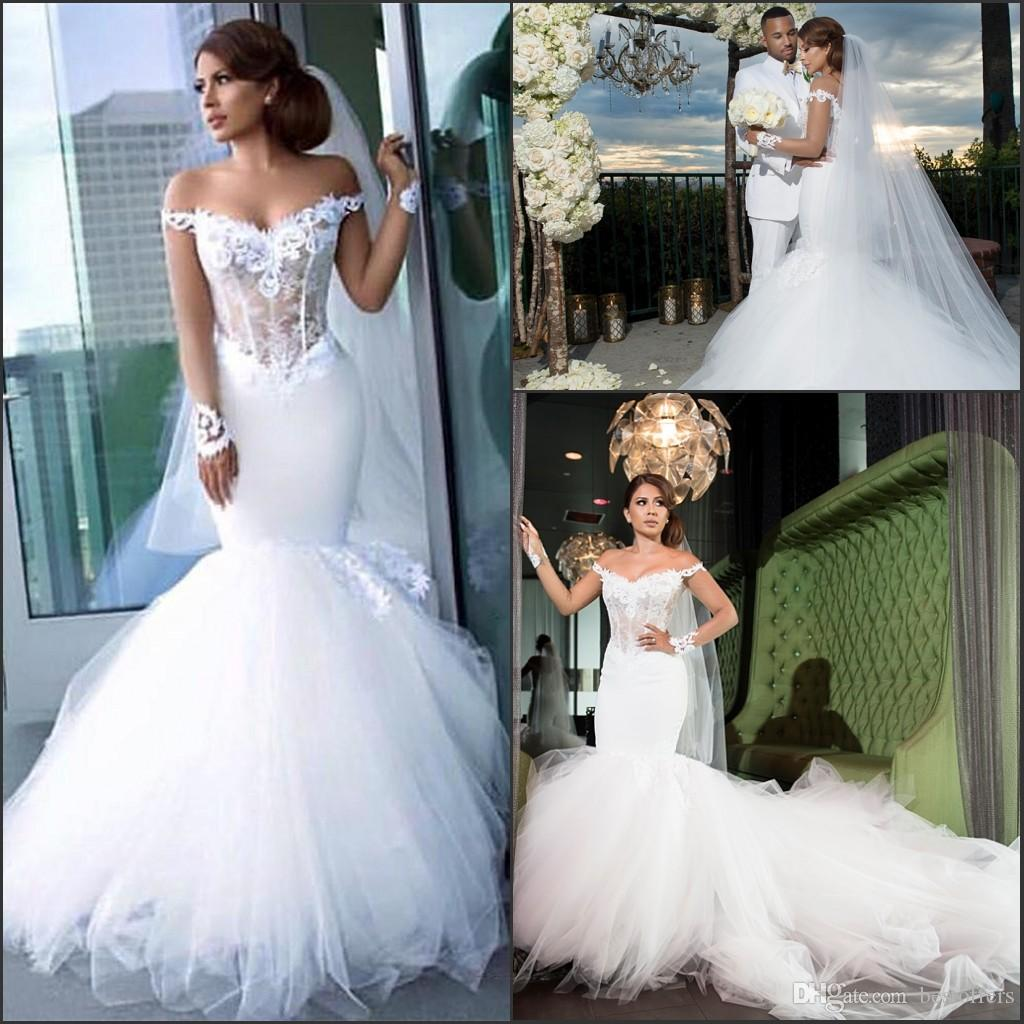 9e1d4d9ea97d Amazing Mermaid Wedding Dresses 2017 New Off The Shoulder With Beads  Appliques Nigerian Bridal Gowns Court Train Tiers Tulle Custom Alfred Wedding  Dresses ...