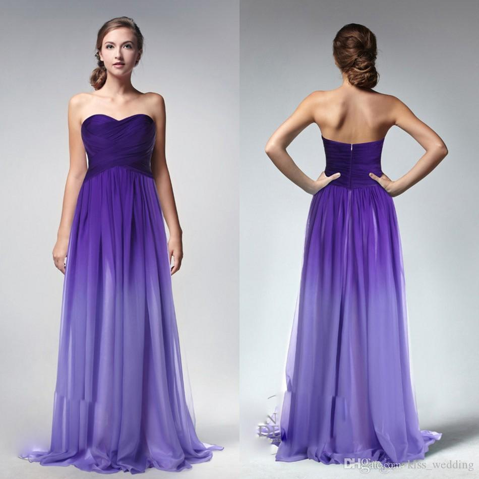 Ombre Purple Cheap Long Bridesmaid Dresses Sweetheart Backless ...