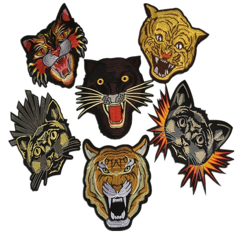 1 pieza parches bordados zakka tiger hierro coser zakka appliques accesorios de cabeza de animal para coser