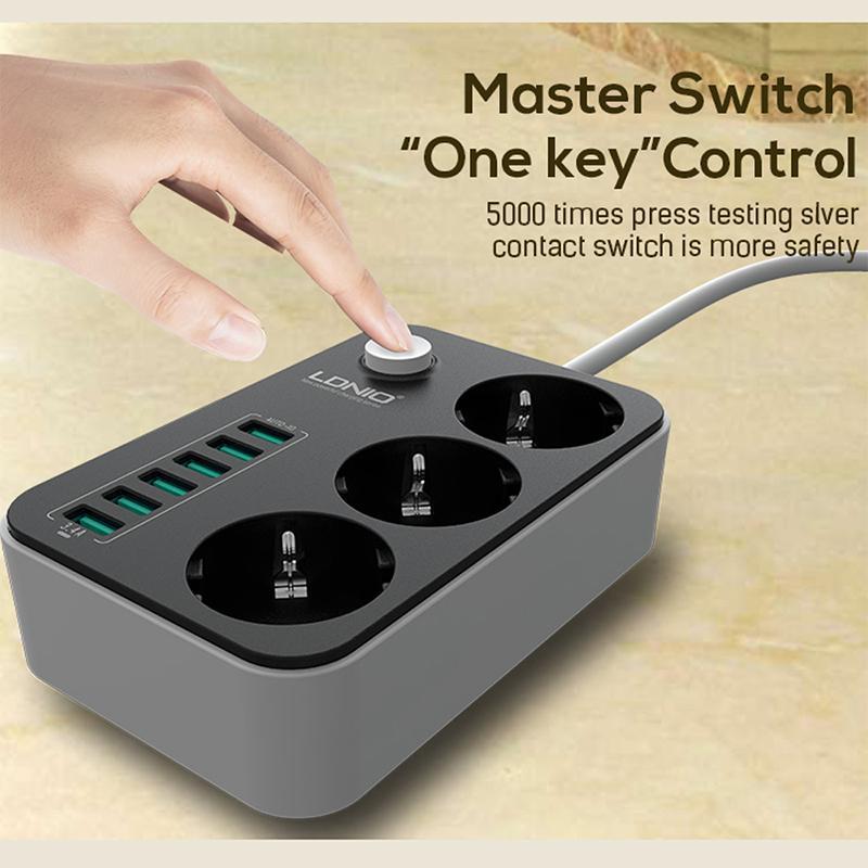 SE3631 Chargeur intelligent avec 6 prises, port USB, 3 prises d'alimentation secteur Adaptateur de cordon de rallonge protégé contre les surtensions, type UE, DHL CAB215
