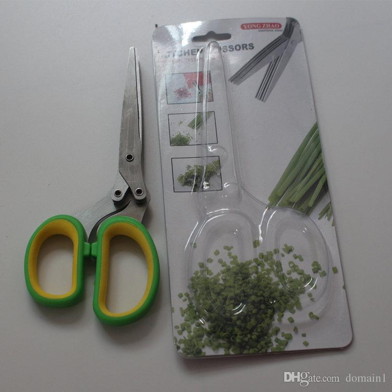 Domain1 Culinary Herb Scissors Stainless Steel - Multipurpose Kitchen Shear with 5 Blades and Cover with Cleaning Comb