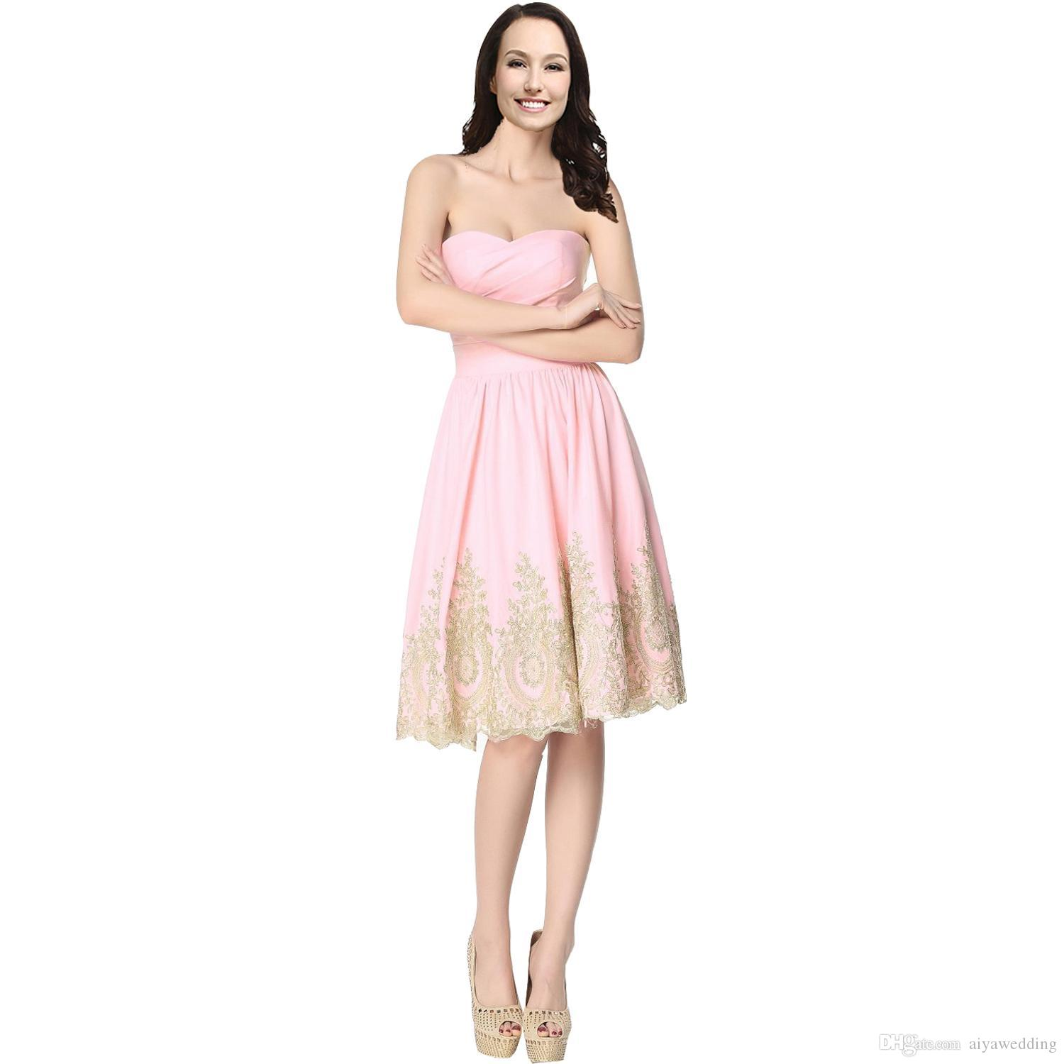 Gold Lace Short Homecoming Dresses Sweetheart Knee Length Simple Corset Prom Graduation Party Gowns Cheap 2019 Vestidos De Festa Pink