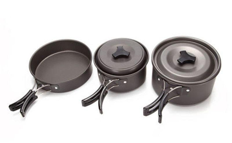 2-3 Personen 9 in 1 Aluminiumlegierung Outdoor Camping Kochgeschirr Topf Set Wandern Backpacking Kochen Picknick Pan mit Löffel Schüssel
