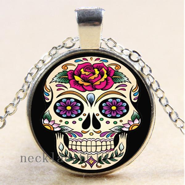 wholesale sugar skull rose chain necklacechristmas birthday giftcabochon glass necklace silverbronzeblack fashion jewelry pendant a584 pendants and - Christmas Sugar Skull