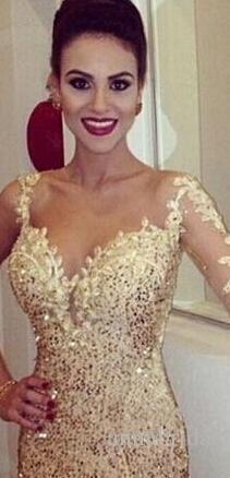 Meerjungfrau schiere lange Abendkleider glänzend Champagner Pailletten durchsichtig zurück eine Schulter Hülse Vestidos De Festa Prom Pageant Kleider billig