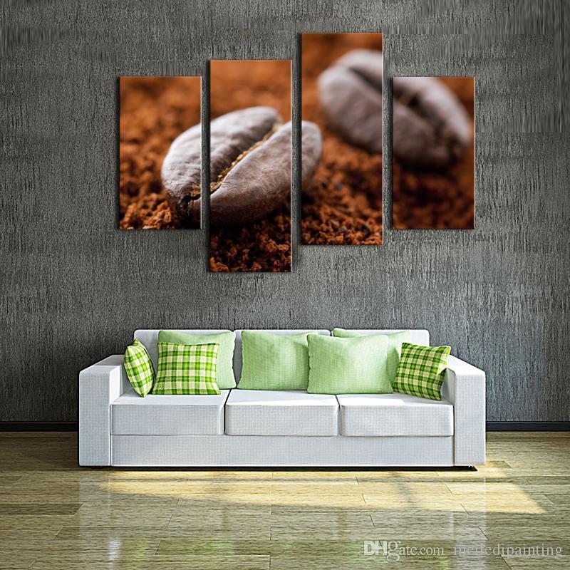 Amosi Art-Wall Art- Art mural de grain de café brun peignant l'image imprimée sur la toile des images de nourriture pour la décoration intérieure cadre en bois