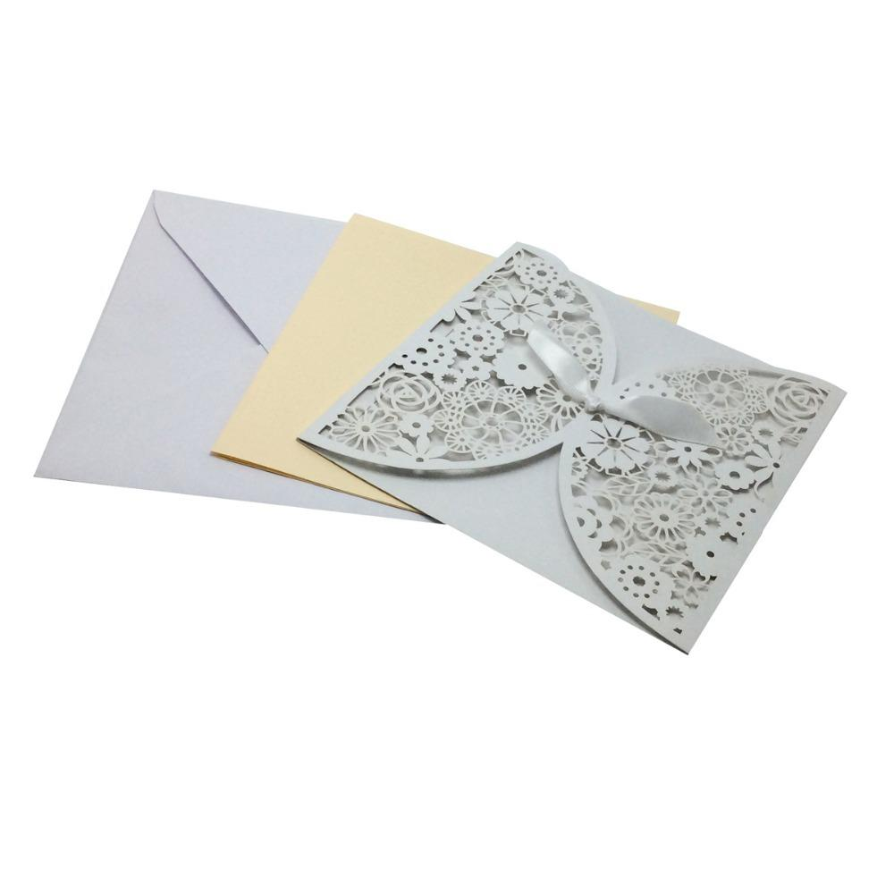 Wholesale Bowknot Wedding Invitation Card Laser Cut White Hollow ...