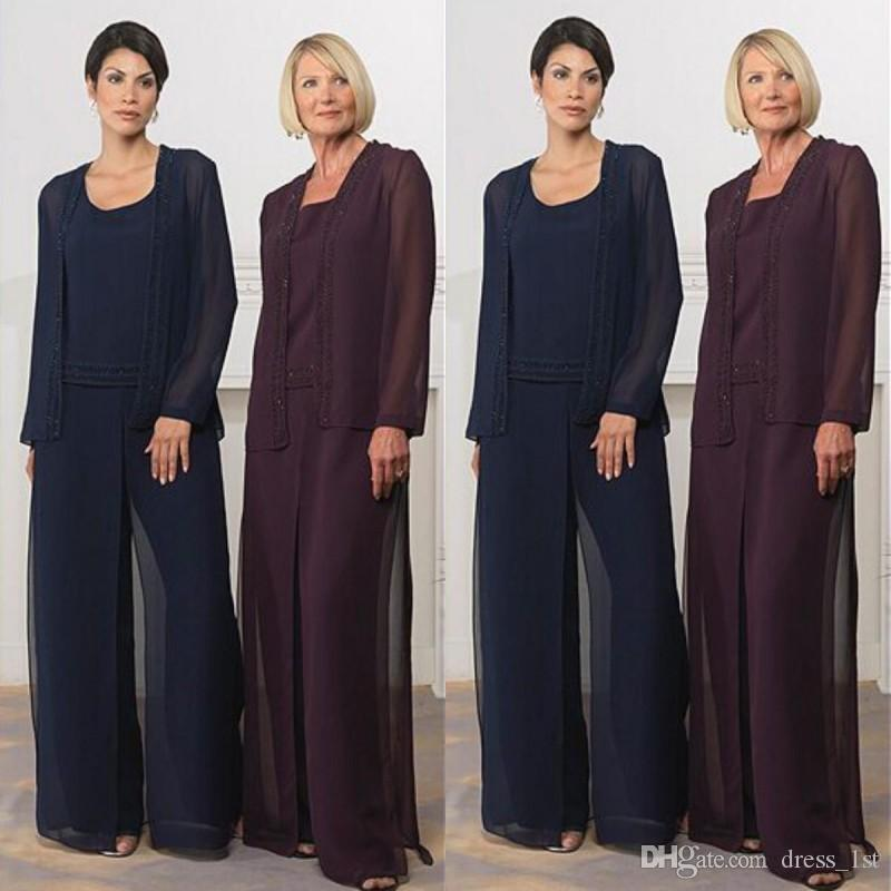 17219577522 Modest 2016 Navy Blue Grape Chiffon Long Mother Of The Bride Pant Suits  With Long Sleeve Jacket Cheap Beads Formal Suits Custom Made EN8017 Mother  Of The ...
