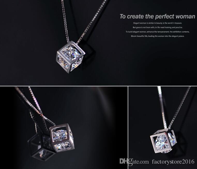 925 فضة قلادة s925 كريستال مجوهرات ساحة الحب مكعب الماس قلادة بيان القلائد الزفاف خمر امرأة الأزياء