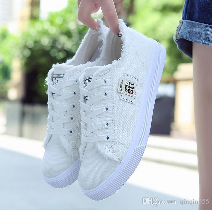 7b2b97e81c Floral Canvas shoes hot sale 2016 fashion Appliques slipony women footwear  height increase girl female comfort slipon women shoe