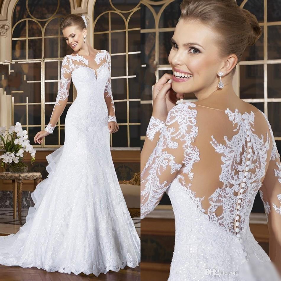 Discount Mermaid Long Sleeves Wedding Dresses 2017 Appliqued Lace ...