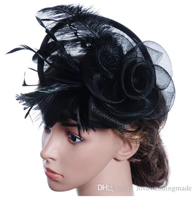 Moderne Plus Chaud Coloré Plume Fascinator Chapeaux Pour Église De Noce Soirée De Bal Prom 2017 Populaire Dames Bandeau