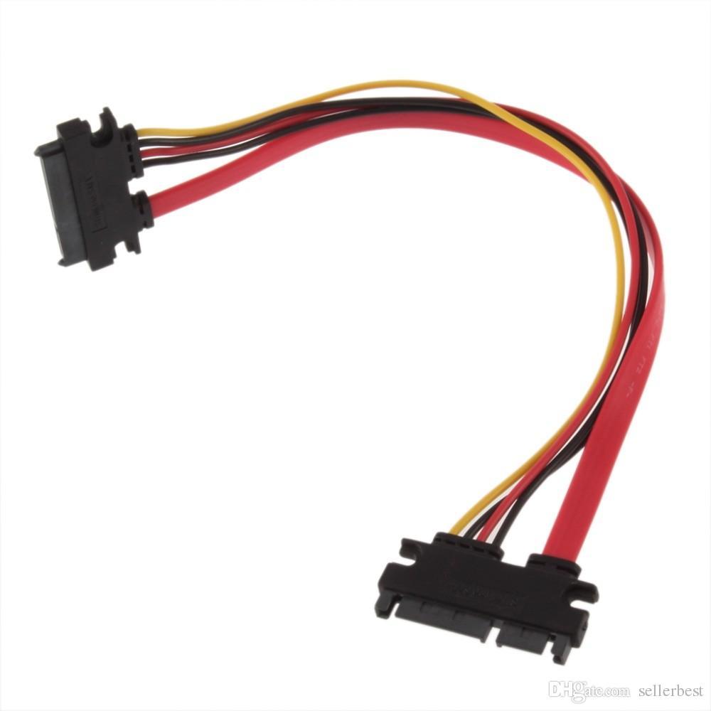 En İyi Kalite 7 + 15 Pin Seri SATA Veri güç Combo HDD uzatma Kablosu Konektörü Erkek Kadın
