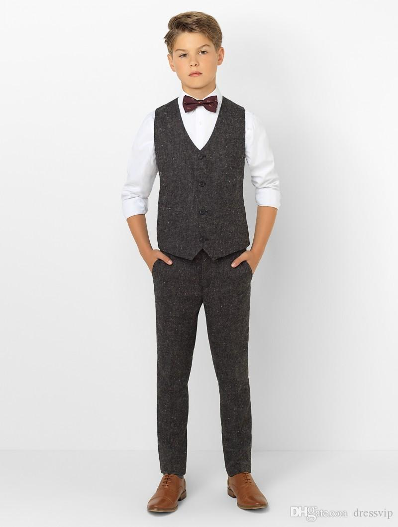 Boys Tuxedo Boys Dinner Suit For Wedding Formal Suits Tuxedo for Kids Formal Occasion Suits For Little Men Jacket+Pants+Vest+Bow Tie