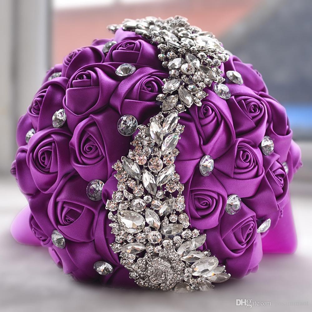 2017 neue Kristall Brosche Hochzeit Bouquet Hochzeit Zubehör Brautjungfer Künstliche Satin Blumen Hochzeit Blumen Brautsträuße