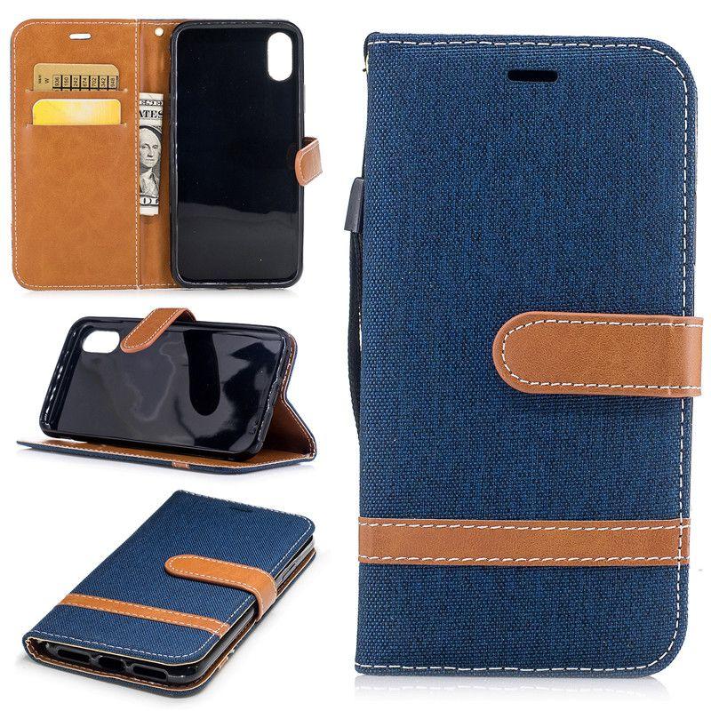Luxus-Denim-Kasten für iphone 8 Iphone 6 7 Plus-Abdeckung Stoß- Shell-Mappen-Schlag-Kasten Premium-PU-Leder-Kasten