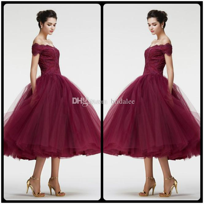 Borgonha Fora do Ombro vestido de Baile Vintage Lace Prom Vestidos Chá Comprimento Encantador Trem Fofo Evening Vestido de Festa Para As Mulheres Vestidos