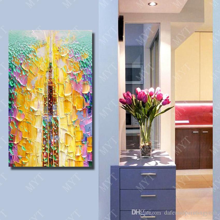 Абстрактный желтый нож картина маслом для украшения гостиной ручная роспись современная живопись маслом на холсте