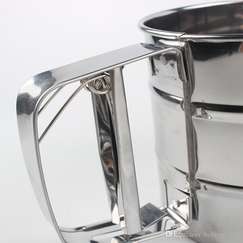 Taza de tamiz de harina robusta Tipo de presión de mano Polvo de acero inoxidable Tamizadora Herramienta de horneado redondo de calidad superior 5 3kn B R