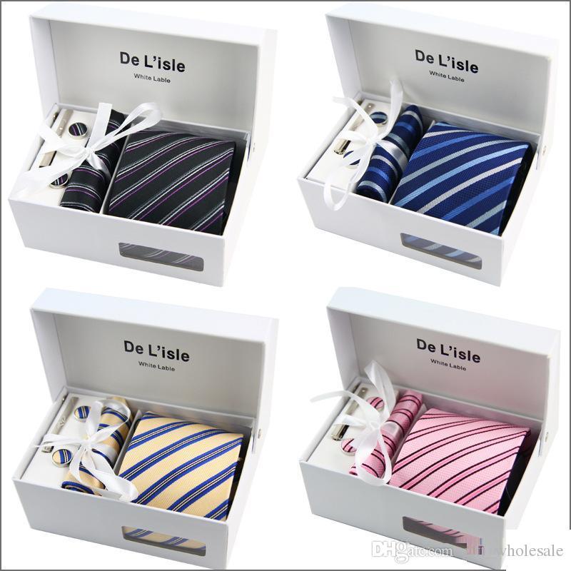 دي Losle Brand Men's Jacquard Necktie Set Classic Mens Necktie Tie Tie Clip Clips Cufflinks Hanky Gift